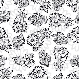 スタイリッシュな花のパターン。彩色のページの装飾。