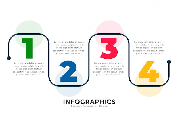 Stylish four steps modern line infographic template