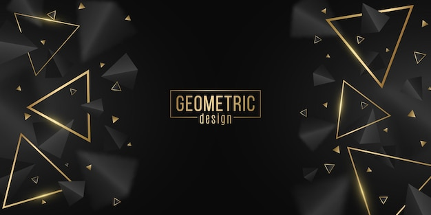 Stylish, geometric background of black and golden triangles. modern design for template, cover, banner, brochure. 3d, decorative, polygonal shapes with blur. vector illustration. eps 10