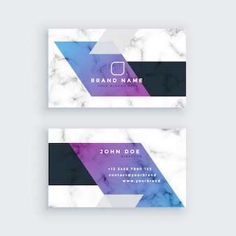 Stylish geometric marble business card design