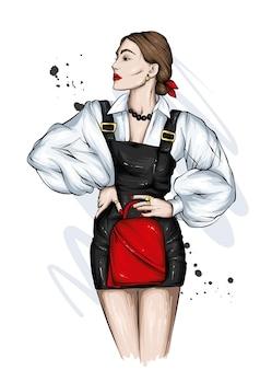 세련된 소녀 아름다운 옷