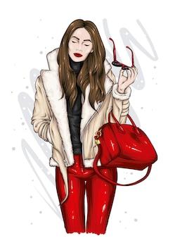 Stylish girl in a beautiful jacket