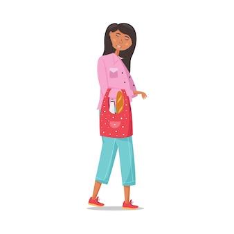 布製のエコ食料品バッグを手に持ったスタイリッシュな女の子。ゼロウェイスト。エコロジカルなビニール袋なしのコンセプト。再利用可能なショッピングバッグ。ベクトルフラットイラスト