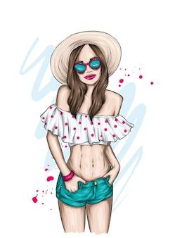아름 다운 여름 옷에 세련 된 소녀