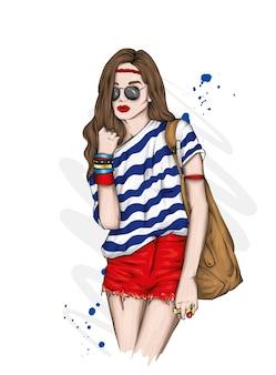 유행 여름 옷에 세련 된 소녀입니다.
