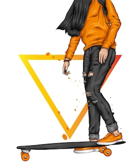 스케이트 보드에 세련 된 소녀입니다.
