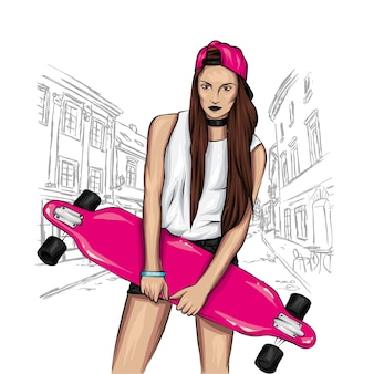 Stylish girl and a skateboard.