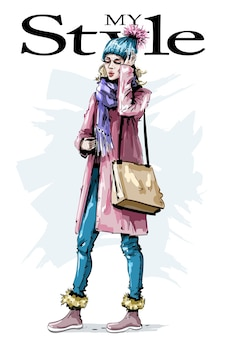 Stylish girl in winter clothes