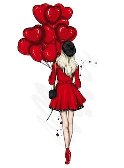 風船とハートのスタイリッシュな女の子