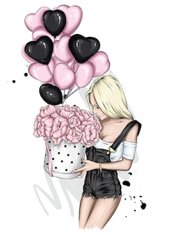 Stylish girl with balloons and hearts