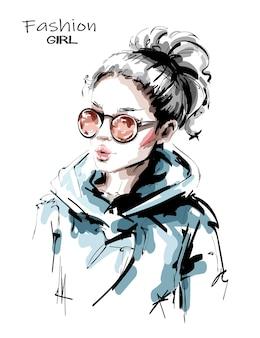 Stylish girl with ponytail.