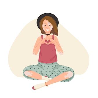 Стильная девушка с витилиго в шляпе улыбается и любит себя мультяшный вектор плоской иллюстрации себя Premium векторы