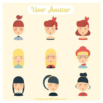 Stylish girls avatars set