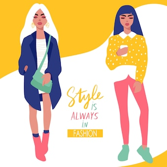 Stylish girls in trendy clothes isolated