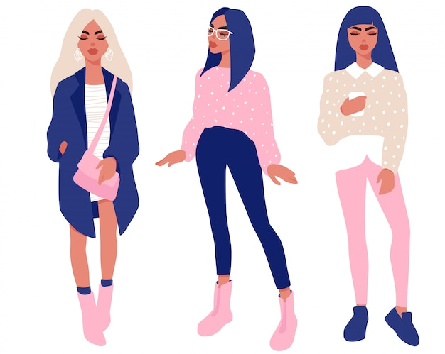 Stylish girls in trendy clothes set