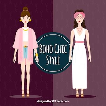 Stylish girls with boho clothes