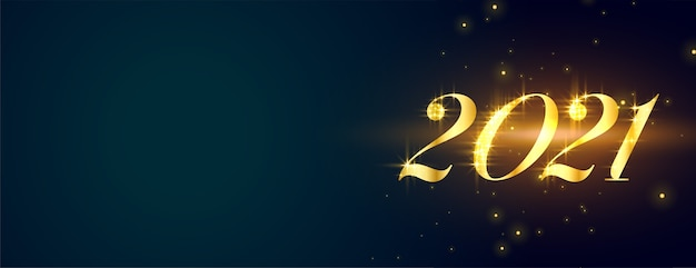 Stylish glowing golden happy new year  on blue banner