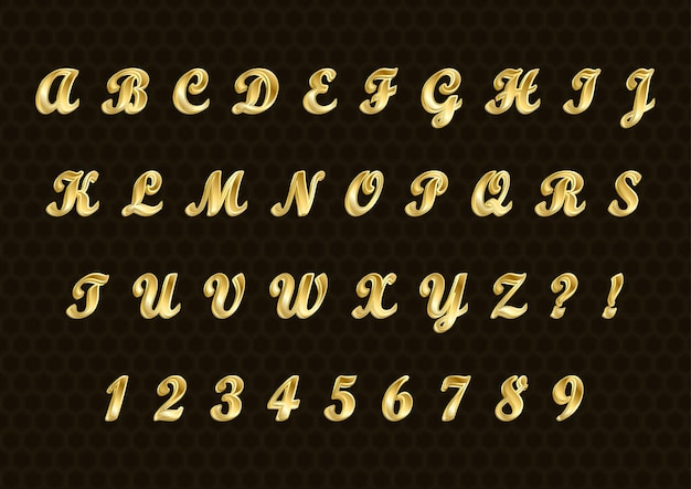 Stylish gold 3d alphabets numbers set