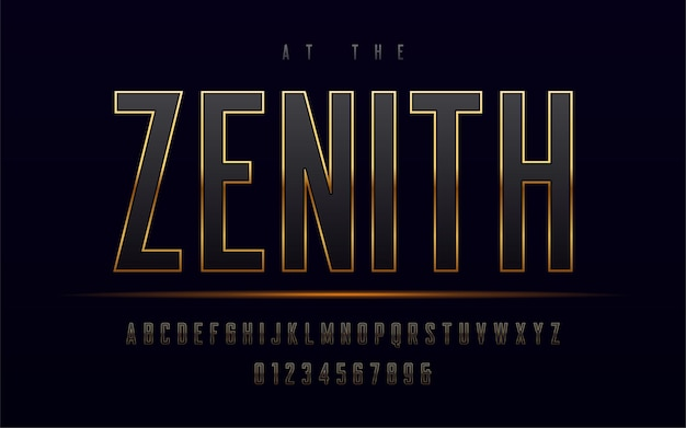 Stylish gold framed uppercase letters and numbers, alphabet.