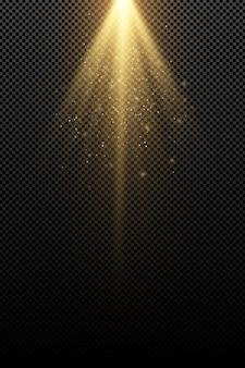 Стильный золотой световой эффект, изолированные на прозрачном фоне. золотые лучи. ламповые балки. летающая золотая волшебная пыль. солнечный лучик.