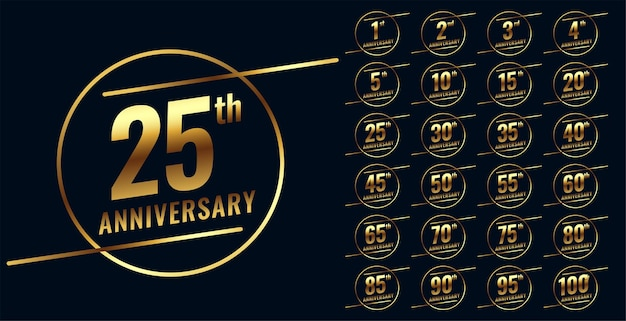 Stylish golden anniversary emblem big set