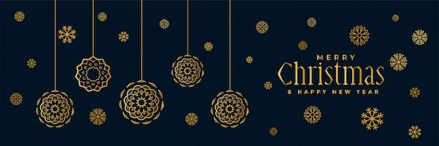 スタイリッシュなゴールデンクリスマススノーフレークのバナーデザイン