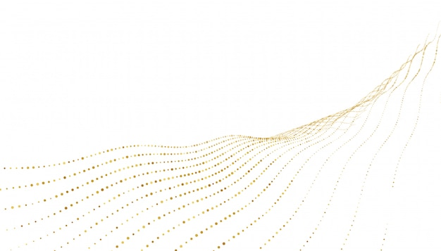 Stylish golden dots wave lines background