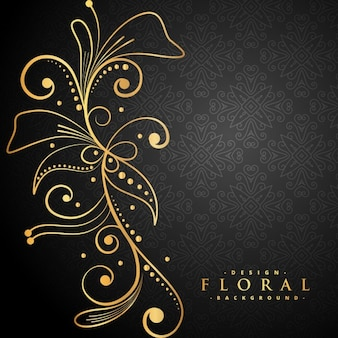 Stylish golden floral decoration on black background