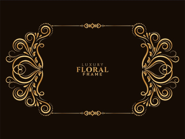 Stylish golden floral frame design background