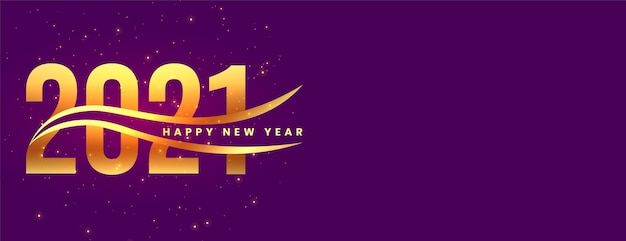 Stylish golden happy new year  on purple background