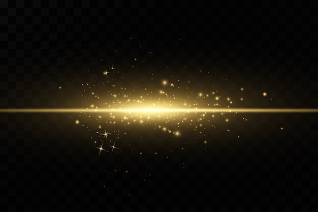 Stylish golden light effect. abstract laser beams of light. chaotic neon rays of light. golden glitters. isolated on transparent dark background.