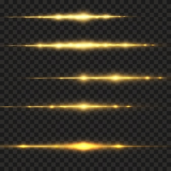 Stylish golden light effect. abstract laser beams of light, neon rays of light. golden