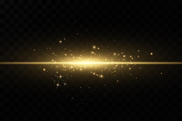 スタイリッシュな黄金色の光の効果。抽象的なレーザー光線。混oticとしたネオン光線。黄金の輝き。透明な暗い背景に分離されました。