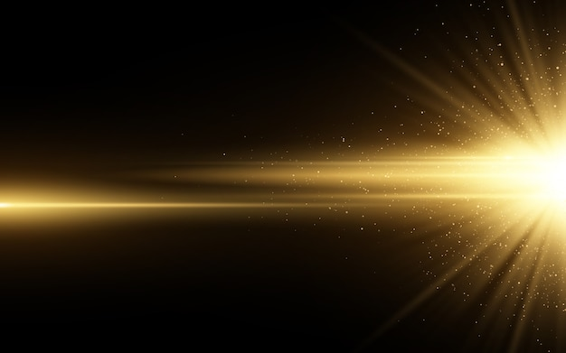 Stylish golden light effect isolated on black background. golden glitters. glowing star with sparkles. glowing line.