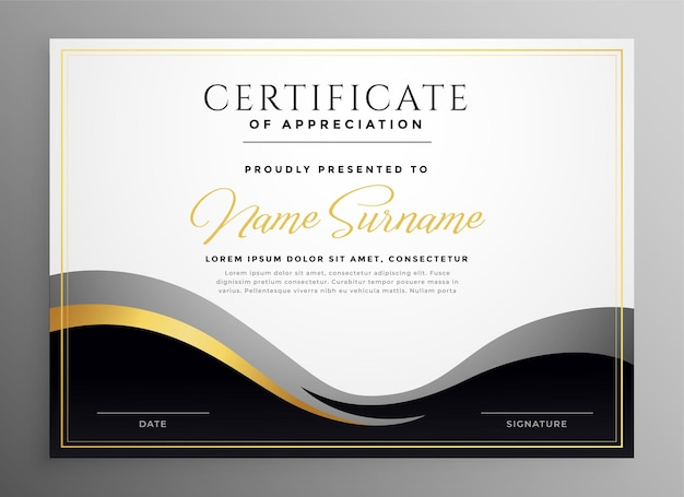 Stylish golden multipurpose certificate template design