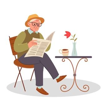 スタイリッシュなおじいさんが路上でコーヒーを飲み、新聞を読みます。椅子に座って新聞を読んでいる先輩。ベクトルイラストフラットデザイン