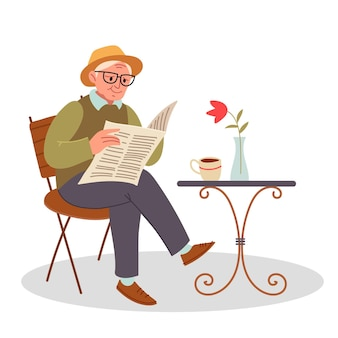 Stylish grandfather drinks coffee on the street and reads a newspaper. senior sitting on a chair and reading a newspaper.  vector illustration flat design