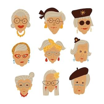 スタイリッシュなおばあちゃんの顔画像セット落書き手描きおばあちゃんの頭のベクトルイラスト灰色...
