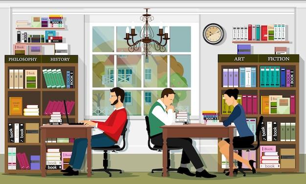 家具と人々がいるスタイリッシュなグラフィックライブラリインテリア。図書館の閲覧エリア。詳細なセット:本、本棚、本棚、テーブル、人々。図。