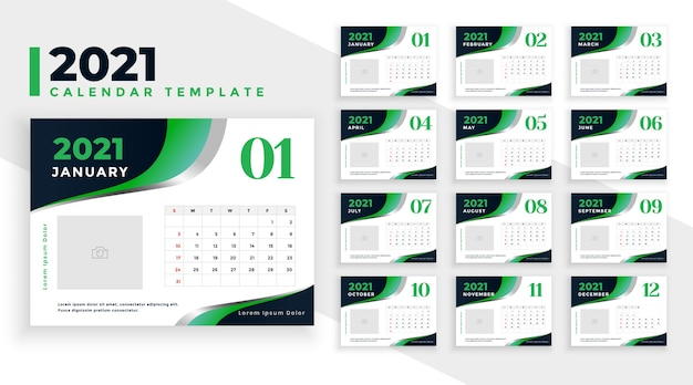 세련된 녹색 2021 새해 달력 디자인 템플릿