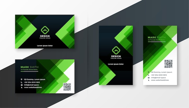 Stylish green business card design template set