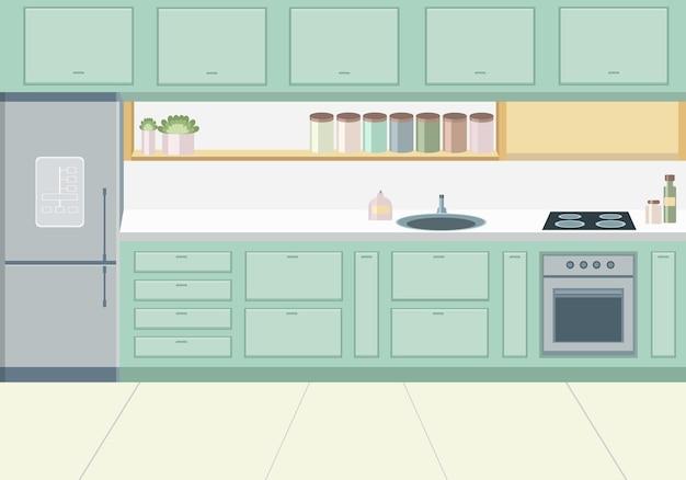 Стильный зеленый дизайн кухни с бытовой техникой