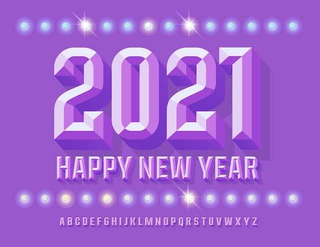 Stylish greeting card happy new year 2021! beveled lilac font. 3d trendy alphabet letters and numbers set