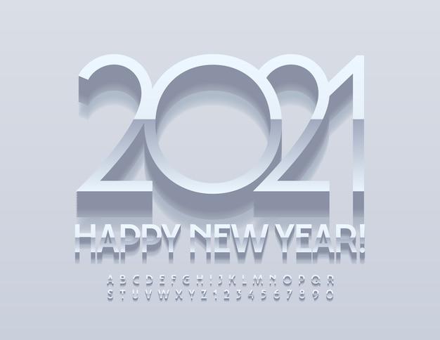 세련된 인사말 카드 새해 복 많이 받으세요 2021! 실버 우아한 글꼴. 프리미엄 크롬 알파벳 문자 및 숫자 세트