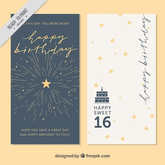 Birthday wishes vectors photos and psd files free download stylish greeting cards with stars m4hsunfo