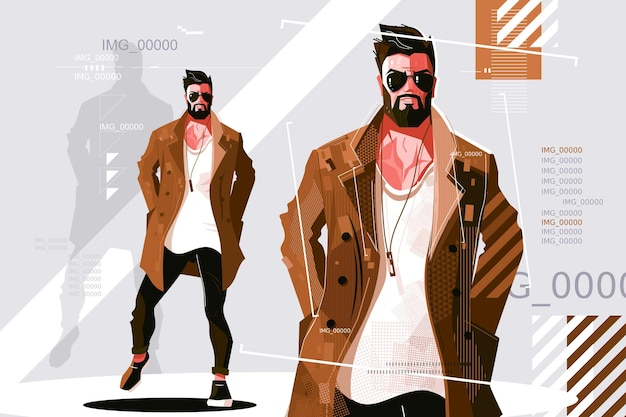 コートのイラストでスタイリッシュな男。