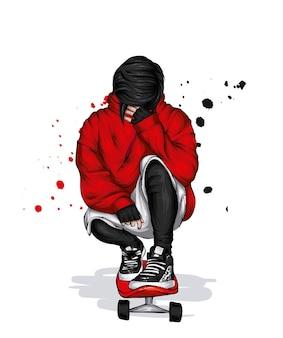 Стильный парень на скейтборде