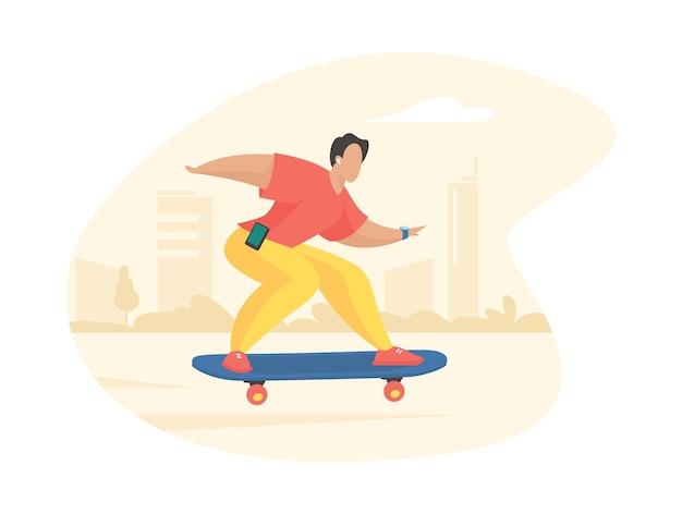 スタイリッシュな男がスケートボードに乗る。ヘッドホンで若い男が難しいフィギュアジャンプを準備します。ストリートアクティブスポーツアーバンユースカルチャー