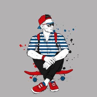Stylish guy and skateboard