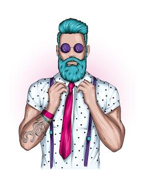 Стильный парень с бородой и очками
